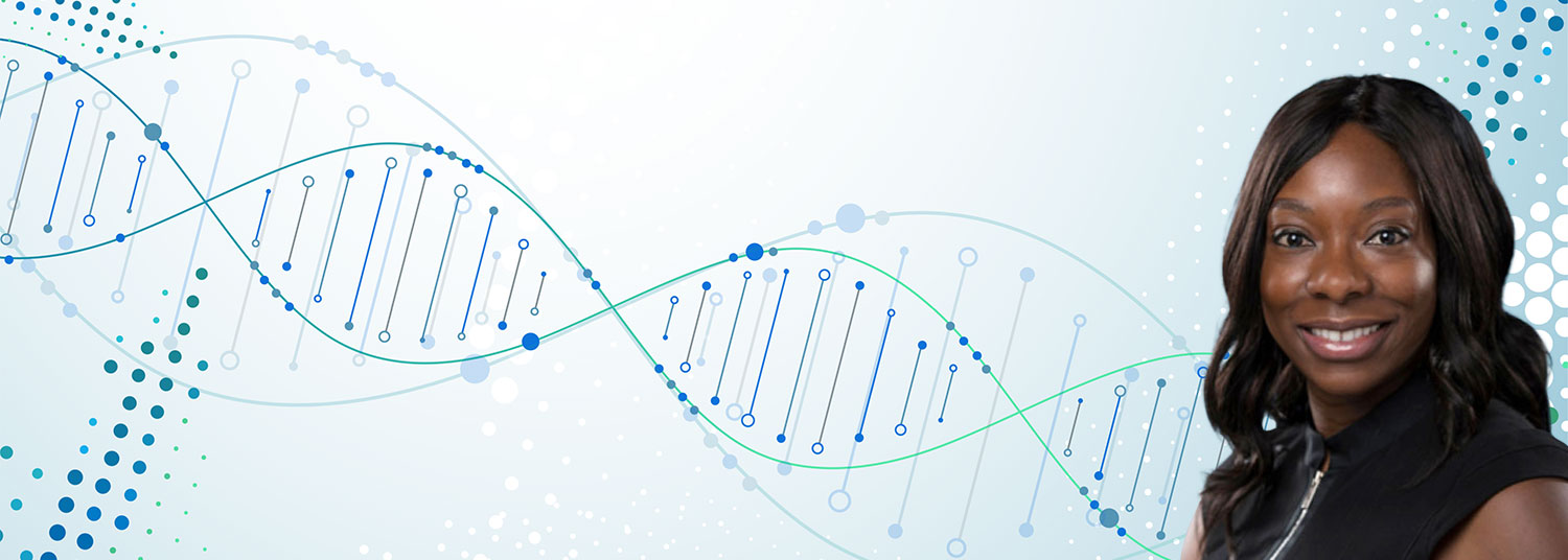 Photo of Dr. Adebamowa with DNA background
