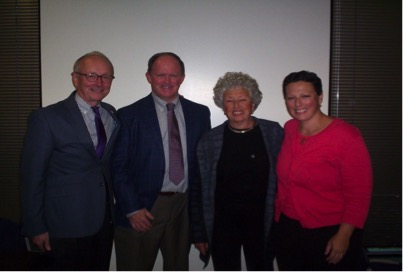 Pictured from left to right – Richard Eckert (Chair of Biochemistry and Molecular Biology), Michael DiPersio, Linda Katz (daughter of Eugene Bereston) and Sarah Katz (granddaughter of Eugene Bereston)