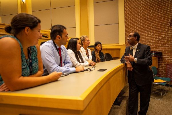 Dean Reece speaks with MPH students