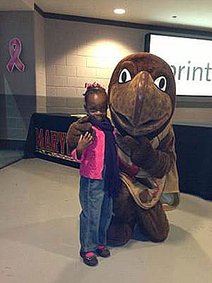University of Maryland Mascot, Testudo, with child