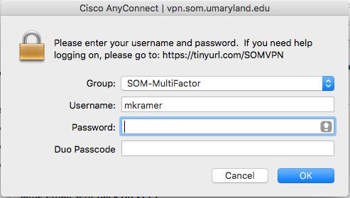 VPN Login ScreenShot