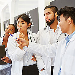 Group of medical students in classroom