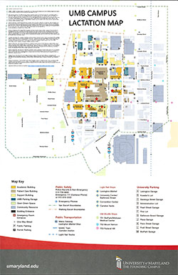 UMB Campus Lactation Spaces Map