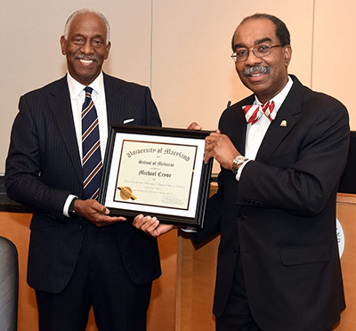 Michael E. Cryor becomes Chair Emeritus of UMSOM Board of Visitors