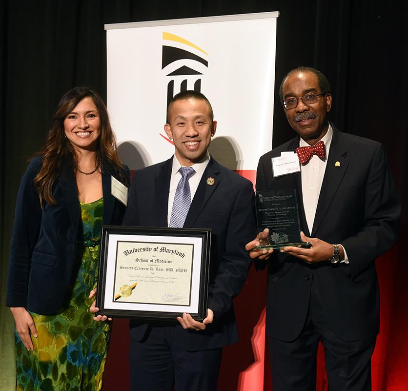 Dr. Sandra Quezada, Senator Clarence Lam, and Dean Reece