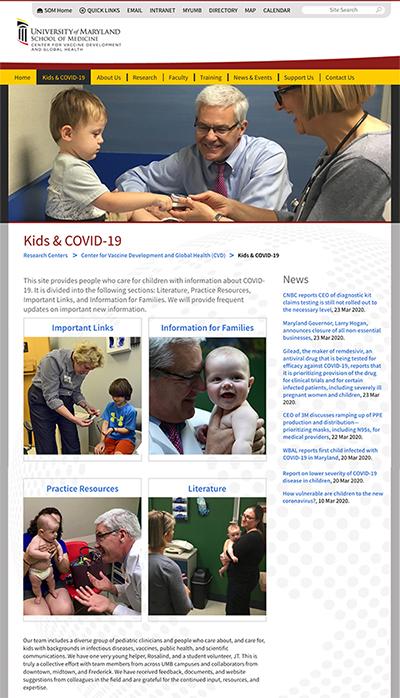 Kids & COVID-19 website