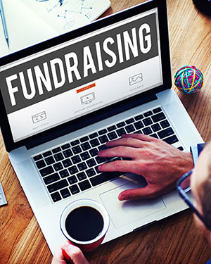 Laptop with the word Fundraising on the screen