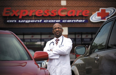 Maurice Reid standing in front of Express Care
