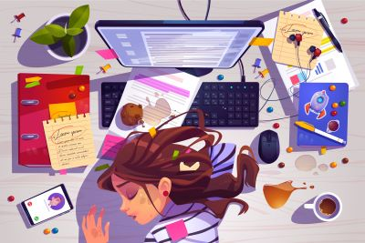 Illustration of a woman with her head down on a desk in front of an open laptop. There are candies, notes, a smartphone, headphones, a coffee cup, a plant, and other desk debris strewn around her.