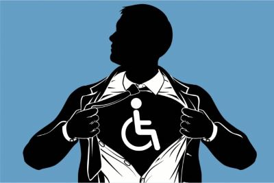 A silhouette of a man in an open black suit jacket pulling open a white button down shirt to reveal a tshirt with the handicapped symbol