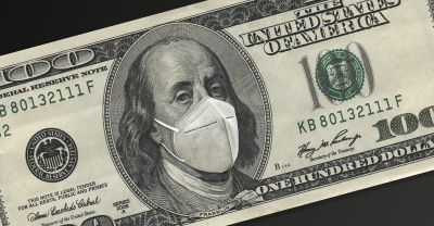 A 100 dollar bill with a mask over Benjamin Franklin's face
