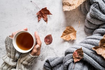 Top down view of gloved hands wrapped around a mug of tea, a blanket to the side,and fall leaves scattered