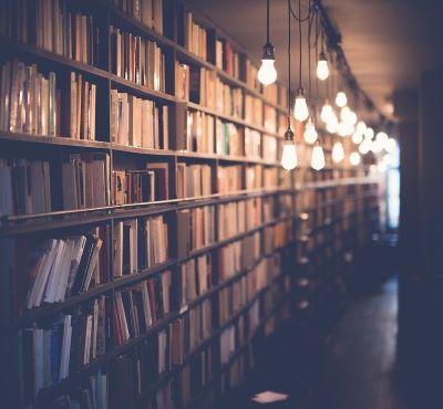 Dimly lit bookshelves