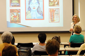 Dr. Blitzer teaching a class of seniors at Mini-Med School