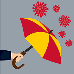 Illustration of umbrella and covid
