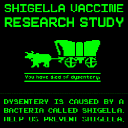 a graphic to advertise the Shigella trial