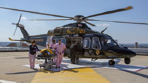 Helicopter on roof of Shock Trauma Center