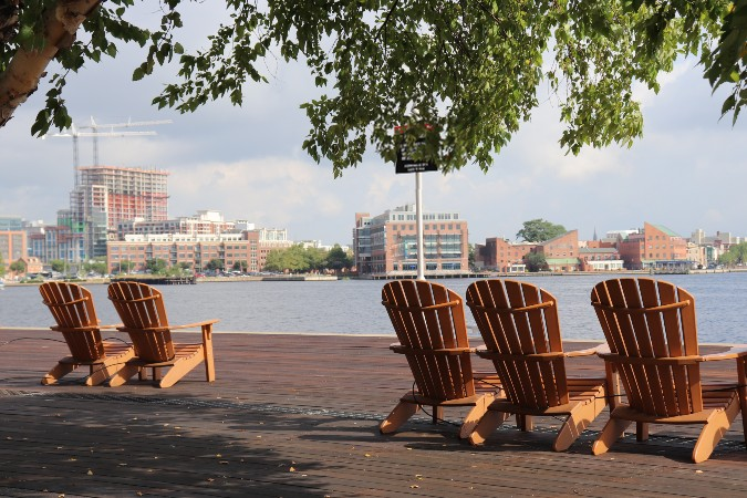 Four Adirondack chairs under a tree on a wooden pier. The chairs are facing the water with a bunch of brick buildings.